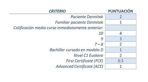 criterio de puntuación de becas Dermitek